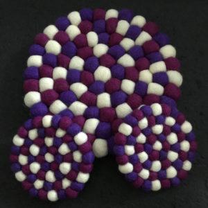 Dessous de plat et de tasse en perles de laine du Népal N045